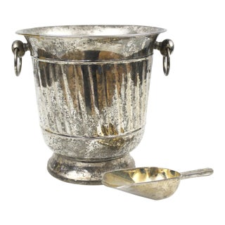 Vintage Silver Plated Ice Bucket With Scoop Champagne Bucket Silverplate Godinger For Sale