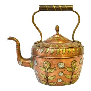 19th Century Arts and Crafts Copper and Brass Teapot For Sale