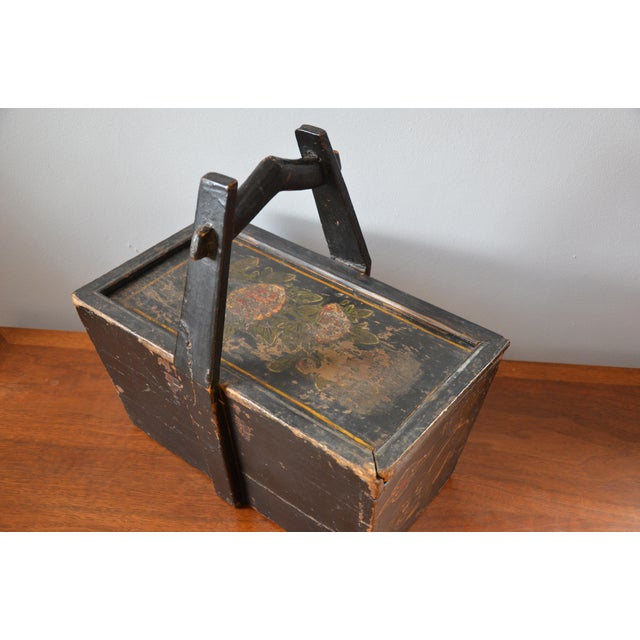 Paint Antique Hand Painted Chinese Wooden Rice Box With Tiger & Dragon For Sale - Image 7 of 13