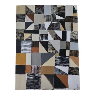 Abstract Geometric Acrylic Painting on Paper in Black, Tan and White For Sale