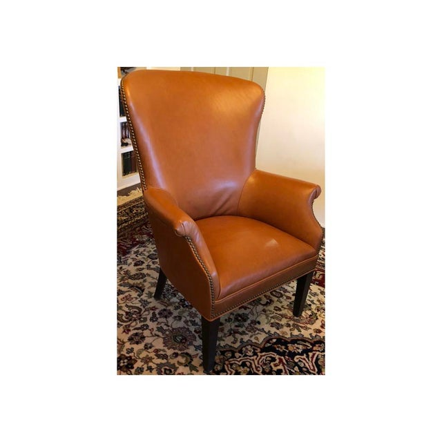 Traditional Williams-Sonoma Michelle Leather Wing Chair For Sale - Image 3 of 3