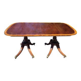 Antique 1930s Banded Mahogany Baker Furniture Double Pedestal Dining Room Table W/ 3 Leaves For Sale