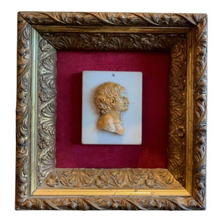 Early 19th Century Grand Tour Framed Carved Marble Double Profile Cameo For Sale