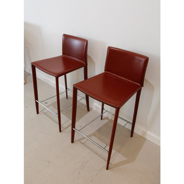 Italian Red Leather Barstools- a Pair - Image 5 of 7
