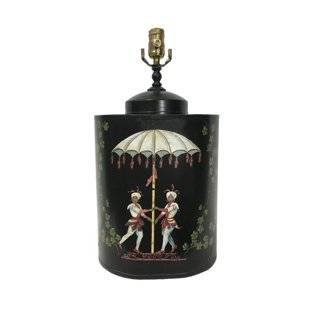 Oval English Style Tea Caddy Lamp For Sale - Image 9 of 9