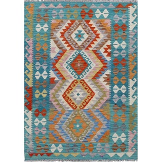 "Handwoven Blue and Multicolor Wool Colorful Reversible Kilim Carpet - 3'7"" X 4'11"" For Sale"