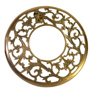 1960s Vintage Brass Scrolled Plant Trivet For Sale
