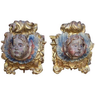 17th Century Antique Carved Poly-Chrome and Gilt Wood Architectural Elements - a Pair For Sale