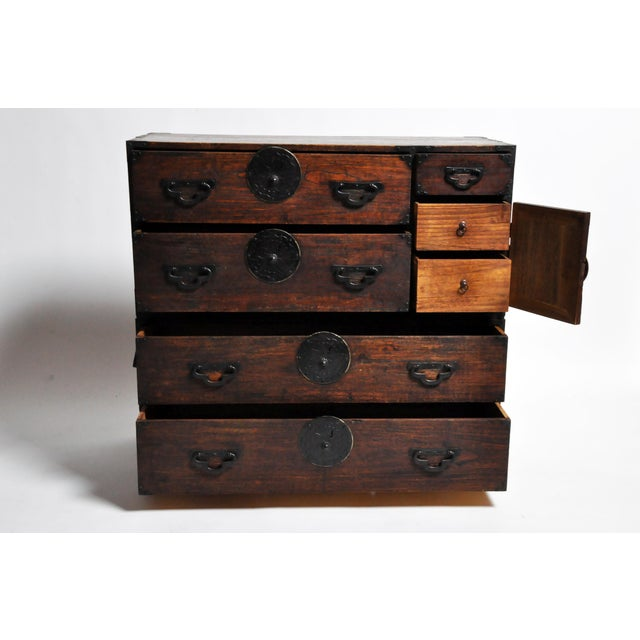 Japanese Tansu With Black Color Hardware For Sale In Chicago - Image 6 of 13