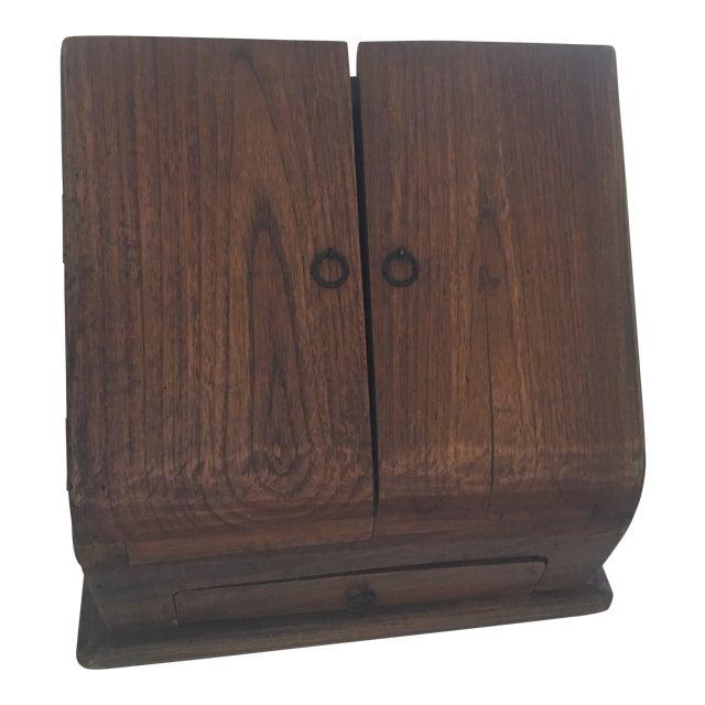 Vintage Rustic Wooden Desktop Cabinet Storage Organizer For Sale
