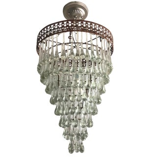 Vintage Tear Drops Glass Chandelier For Sale