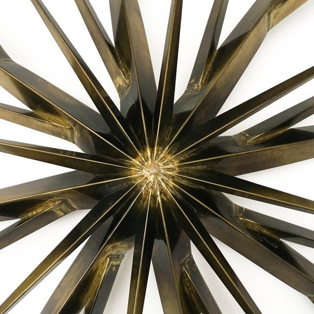 Metal Curtis Jere Patinated Brass Branching Starburst Wall Sculpture, 1981 For Sale - Image 7 of 11