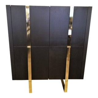Faustine Furniture Faux Marble Top Bar Cabinet With Black Fluted Wood Front For Sale