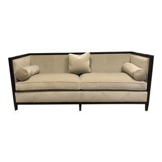 Modern Baker Furniture Leather & Velvet Loveseat For Sale