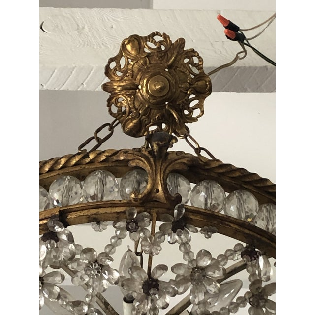 Antique Bronze & Crystal French Chandelier Pendant For Sale - Image 4 of 13