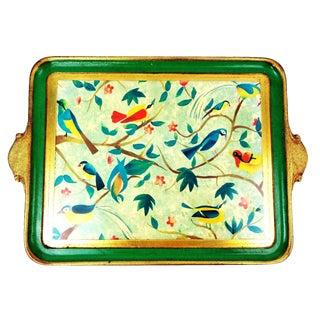 Vietri Italy Florentine Tropical Bird Decorative Tray