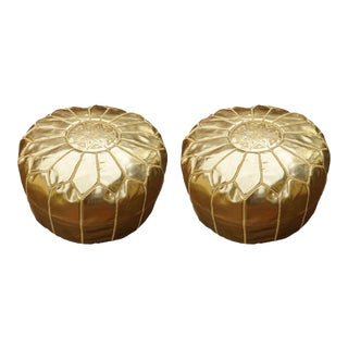 Modern Gold Moroccan Handmade Leather Pouf - Pair For Sale