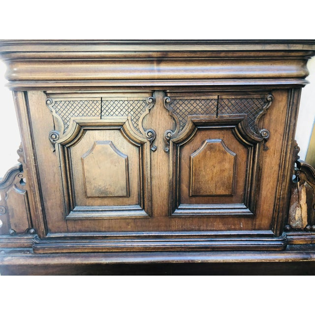 19th Century Jacobean Carved Head Board for King Size Bed With Night Stands - 3 Pieces For Sale - Image 10 of 12
