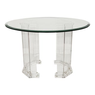1970s Contemporary Lucite Base With Glass Top Dining Table For Sale