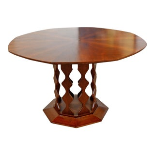 Mid Century Octagonal Walnut Dining Table by Foster McDavid For Sale