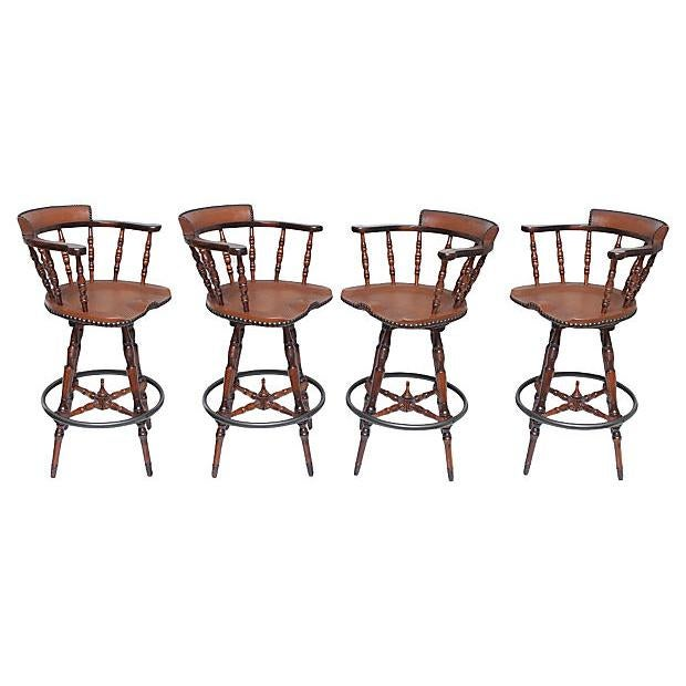 Spanish Colonial Style Game Table & Chairs Set - Set of 5 For Sale - Image 4 of 11