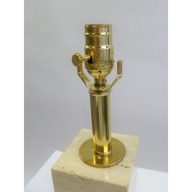 T.H. Robsjohn Gibbings Robsjohn-Gibbings Style Mid-Century Travertine Marble Table Lamp For Sale - Image 4 of 12