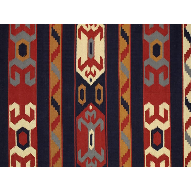 Amazing Anatolian rug with unique pattern! Truly one-of-a-kind. This flat-weave Anatolian rug is masterfully hand-woven of...