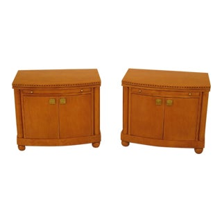 Pair of Hickory White Co. Biedermeier Style Satinwood Nightstands For Sale