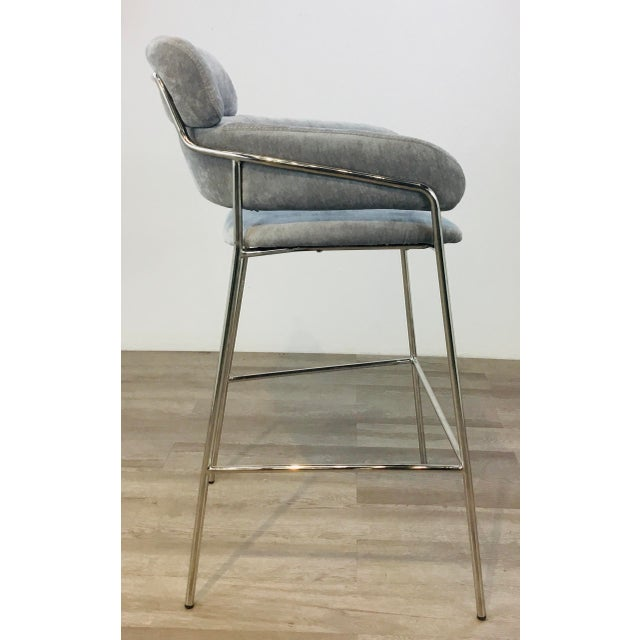 Interlude Home Modern Gray Velvet Counter Stools - a Pair For Sale In Atlanta - Image 6 of 8