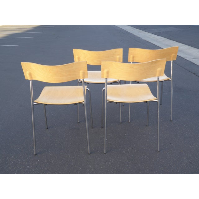 Lammhults Mobel Ab Mid-Century Wood & Chrome Accent Chairs - Set of 4 For Sale - Image 5 of 10
