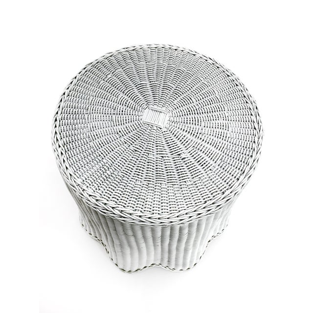 Trompe l'Oeil White Draped Wicker Ghost Pedestal Entryway Side Table For Sale - Image 4 of 6