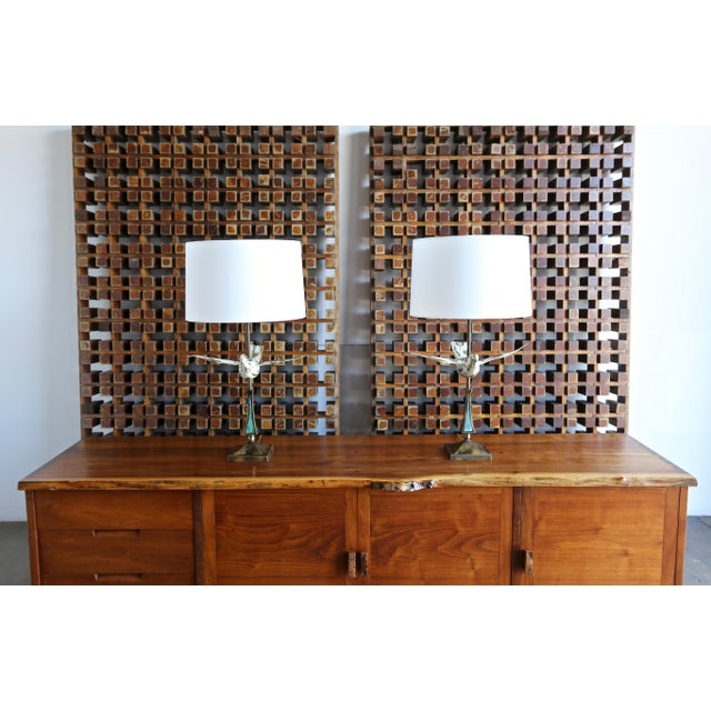 Rare pair of sculptural bird form table lamps by Pepe Mendoza, Mexico, circa 1960. Measurements include the shades.