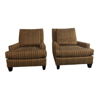 Organic Modern Brown Upholstery Club Chairs - a Pair