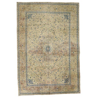 1950s Vintage Persian Kashan Great Room Rug - 11′2″ × 16′7″ For Sale