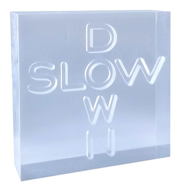 """Pop Art 1960s Lucite Sculpture With Engraved """"Slow Down"""" Text For Sale - Image 13 of 13"""