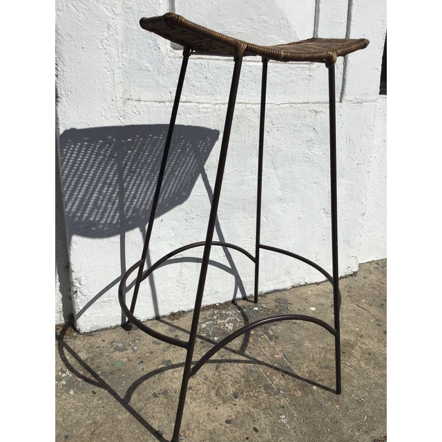 1970s Mid Century Arthur Umanoff Rattan and Iron Bar Stools- Set of 3 For Sale In Los Angeles - Image 6 of 11