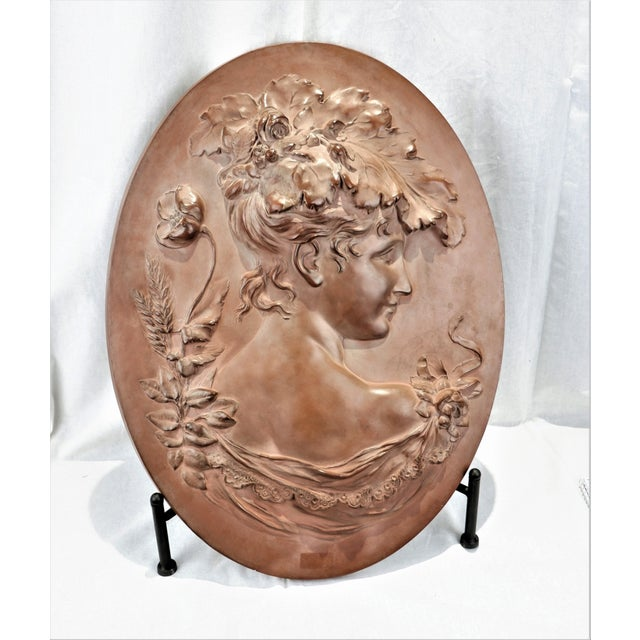 Ceramic Vintage Hand Sculptured Terracotta Plaque Victorian Woman Signed Shields For Sale - Image 7 of 7