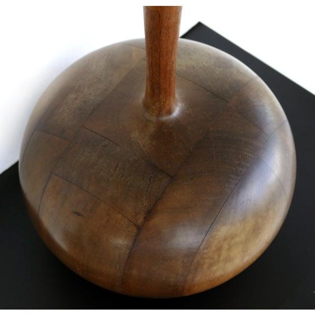 Brown Studio Mid-Century Modern Turned Wood Lamp For Sale - Image 8 of 9