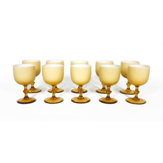 Contemporary Vintage Carlo Moretti Butterscotch Cased Glass Wine Glasses - Set of 10 For Sale - Image 3 of 9