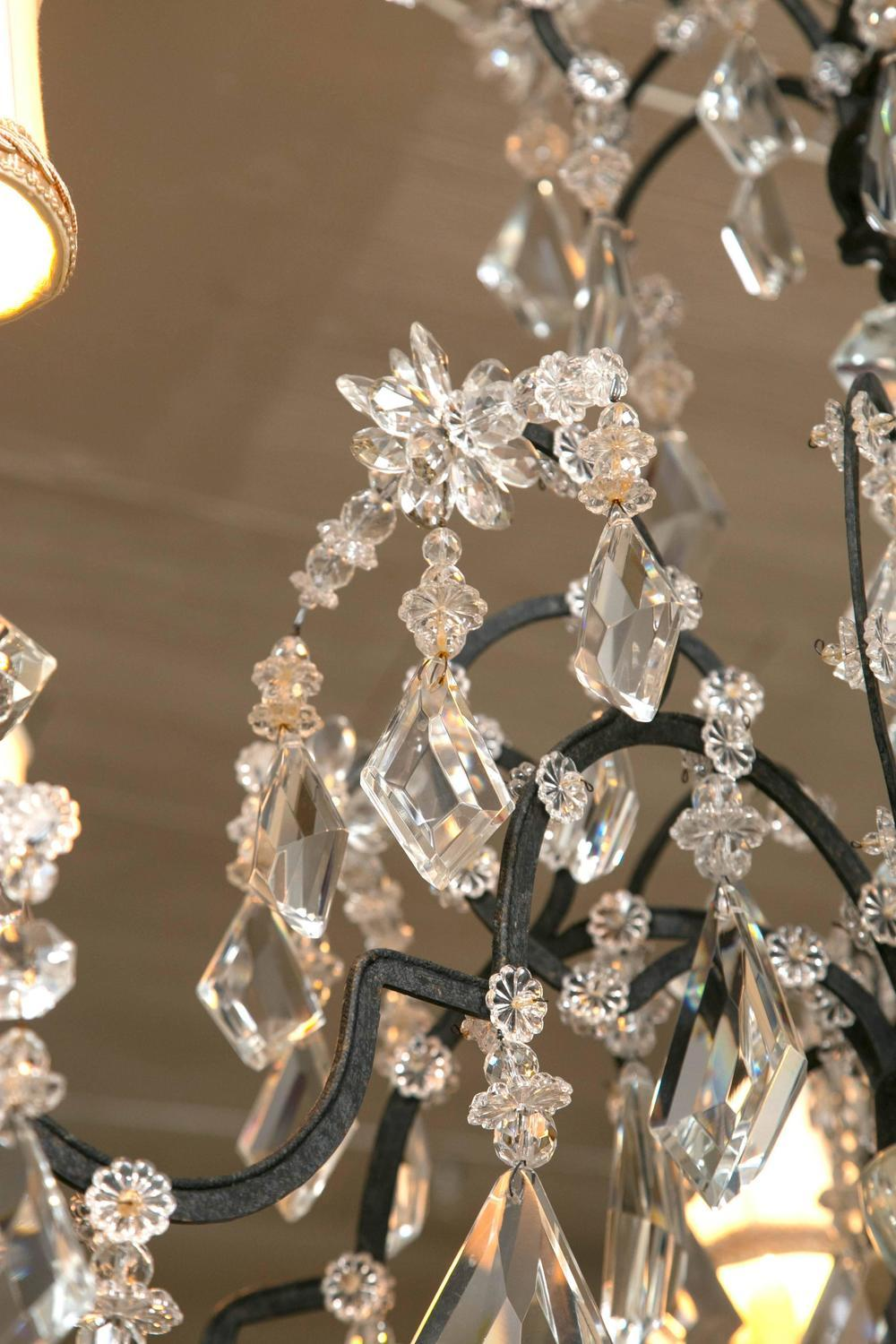 Black Holly Hunt Wrought Iron U0026 Crystal Chandelier For Sale   Image 8 Of 10