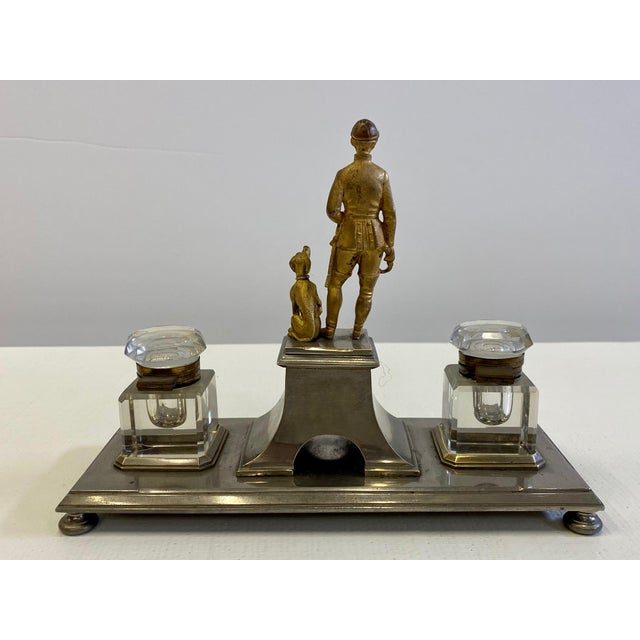 Gilt Bronze Brass and Cut Glass Horseman & Hound Dog Desk Inkwell Set For Sale - Image 4 of 10