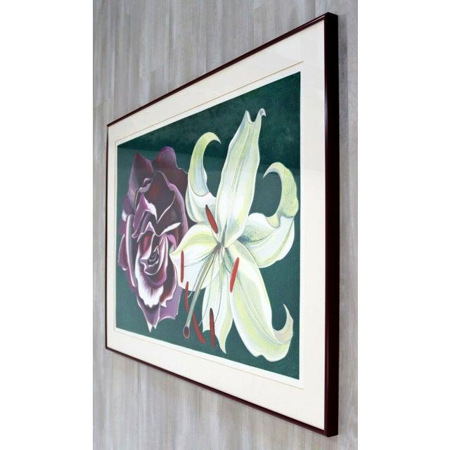 Lowell Nesbitt 1970s Mid Century Modern Framed Lowell Nesbitt Hand Signed Lithograph Lily & Rose For Sale - Image 4 of 7