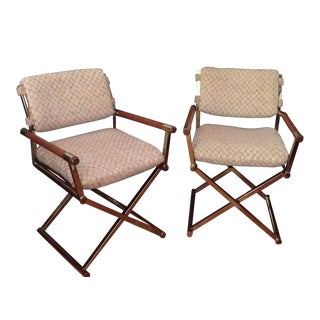 Mid Century Modern Milo Baughman Style Director Chairs - a Pair For Sale