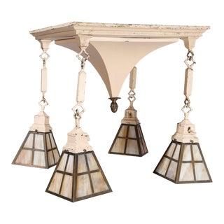 Antique Arts & Crafts Metal & Slag Glass 4-Light Pyramidal Hanging Light, C. 1920 For Sale