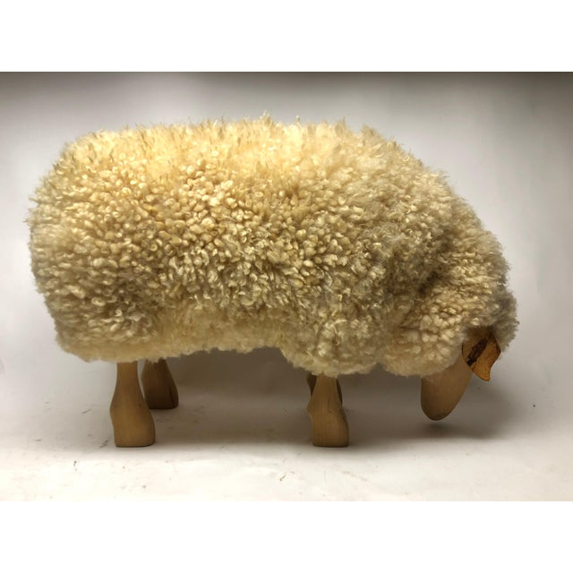 Mid-Century Modern Vintage Lalanne Style Carved Wood Sheep For Sale - Image 3 of 8