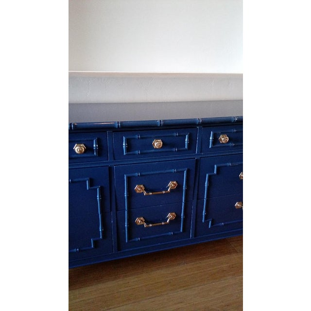 Thomasville Allegro Faux Bamboo High Gloss Blue 9-Drawer Dresser - Image 3 of 5