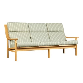 Vintage Mid Century Johannes Andersen for Cfc Silkeborg High Back Beech Sofa For Sale