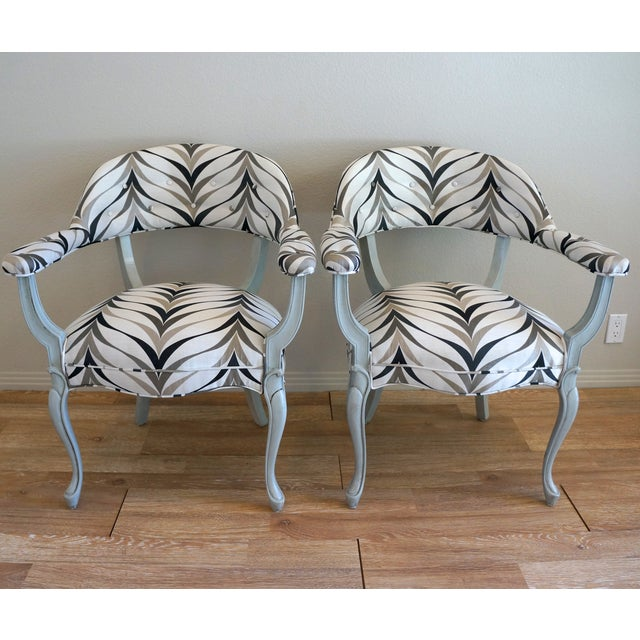 Vintage Art Deco Style Arm Chairs - Pair - Image 4 of 8