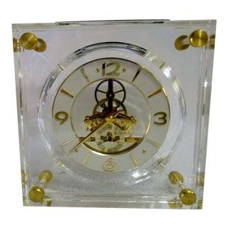 Vintage 1980's Seiko Quartz Lucite Skeleton Clock For Sale
