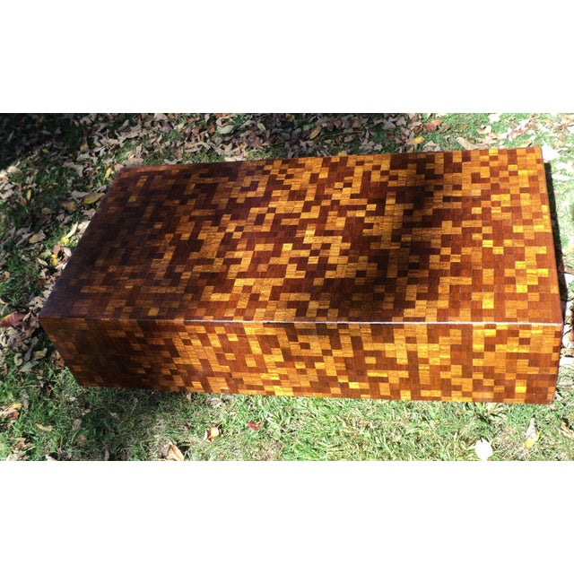 Mid-Century Modern Patchwork Wood Coffee Table - Image 10 of 11